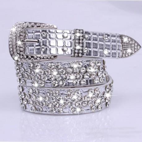 Acheter Ceinture Strass Argenté Cuir   Ceinture 110cm avec Diamant ... b9708ff6125