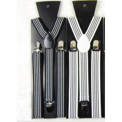 Bretelles à rayures noir et banc