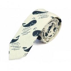 Cravate fines en coton - ardoise foncé 6 cm
