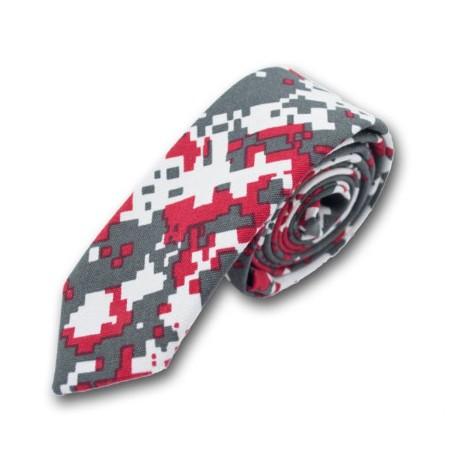 Cravate Pixel - Oie Grise / Rouge / Blanc