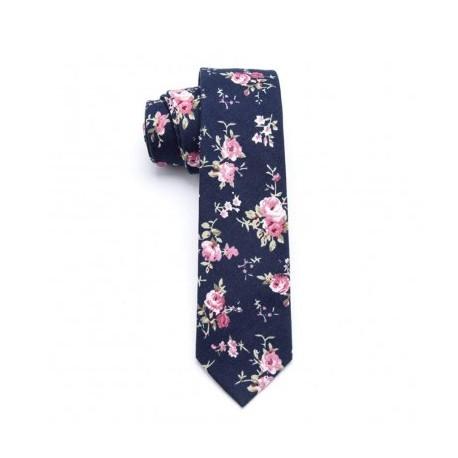 Cravate Marine & Roses