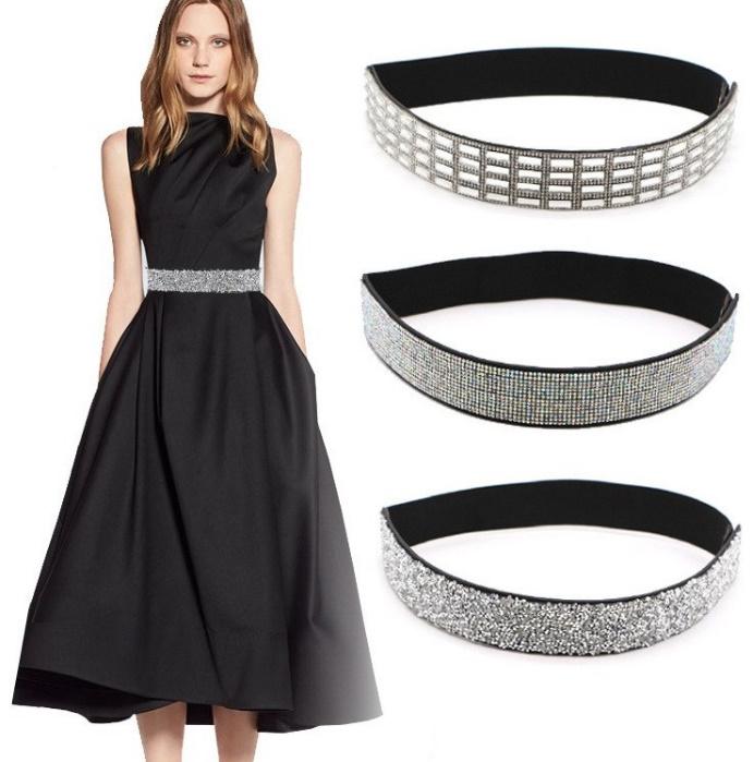 ceinture en strass élastique pour robe de soirée